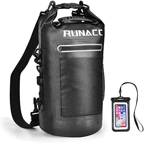RUNACC Dry Bag 20L Wasserdicht Taschen Packsack Wasserdichter Beutel für wasserfester Handyhülle Und Strandsafe Dokumententasche für Boot Strand Kanu Rafting Schwimmen Camping Segeln Surfen Wandern