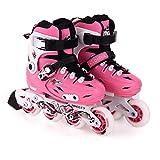 WANGLXST Patines en línea de moda con ruedas iluminadas, tamaño ajustable, divertido, intermitente, para pie derecho, solo freno, para principiantes, para niños, rosa, L