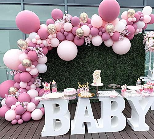 WINAROI - Kit de guirnaldas de globos, 112 piezas retro rosa rojo rosa de metal y globo de confeti para decoraciones de baby shower niña-niño, boda, cumpleaños