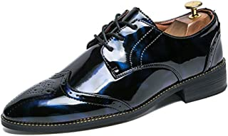XinQuan Wang Men's Business Oxford Casual Fashion Personality Retro Color Contrast with British Style Patent Leather Brogue Shoes (Color : Blue, Size : 7 UK)