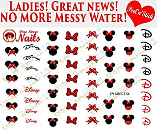 Minnie Mouse Bow V3. Set of 54 clear vinyl Peel and Stick (NOT Waterslide) nail art decals/stickers by One Stop Nails.