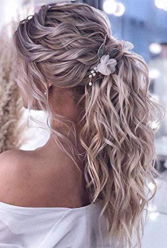 Hetto 14 Zoll Full Head Pferdeschwanz Remy Echthaar für Damen # 18 Dunkel Aschblond Gemischt # 613 Bleich Blond 70g pro Packung 100% Echthuman Extension