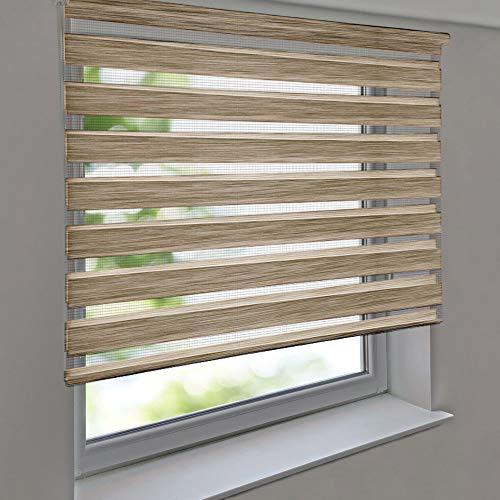 Doppelrollo PREMIUM 125 x 230 cm Leinen-Struktur braun - Duorollo Vario Seitenzug zum Anschrauben freihängend für Wandmontage und Deckenmontage - inkl. Metallträger