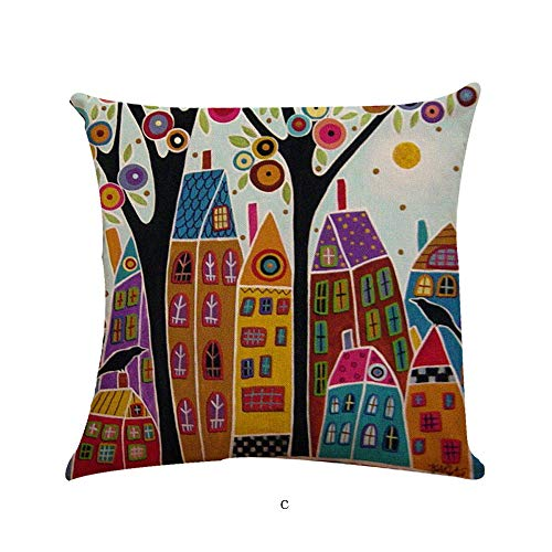 Chrismas Cushion Oil Painted Pillow Case Cotton Bend Linen Cushion Cover Sofa Decorative Square Home & Garden Pillow Case