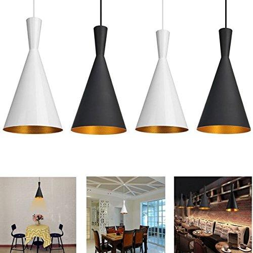 ZHENWOFC Chandelier moderne style rétro plafond suspension abat-jour abat-jour AC100-240V Lumière LED (Couleur   noir)