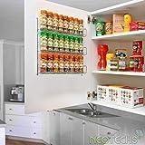 Neo  24pc Chrome 3 Étagère Rangement pour Épices Pots pour Mural ou Placard Cuisine