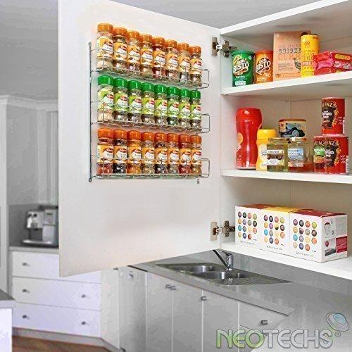 Neo ® 24-tgl. Chrom 3 Ebenen Gewürzregal Glas für Wand oder Küchenschrank