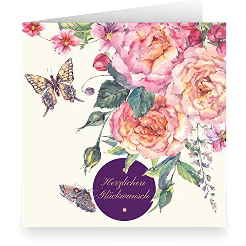 Elegante trouwkaart, verjaardagskaart (vierkant, 15,5 x 15,5 cm met envelopp) met rozen en vlinders: Hartelijk felicitatie - grote XL uitklapbare kaart 3 Grußkarten