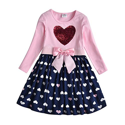 DXTON Mädchen Kleider Pailletten Muster Frühling Sommer Kleidung Party Kids Trägerklei Herz5740, Herz5740, 3-4 Jahre