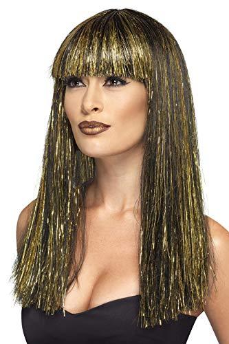 Smiffys-44254 Peluca de Diosa egipcia, con espumillón Dorado, Color Negro, No es Applicable (Smiffy