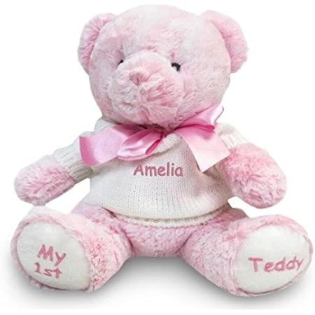 Girls Personalised Pink Faux Fur Embroidered Teddy Bear Head T-Shirt Name D.O.B