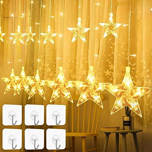 YQHbe Led Sterne Lichterkette, 12 Sterne Lichtervorhang Fenster Weihnachten Warmweiß Fensterbeleuchtung Weihnachtsdeko Mit Weihnachtsbeleuchtung Fensterdeko FüR Innen