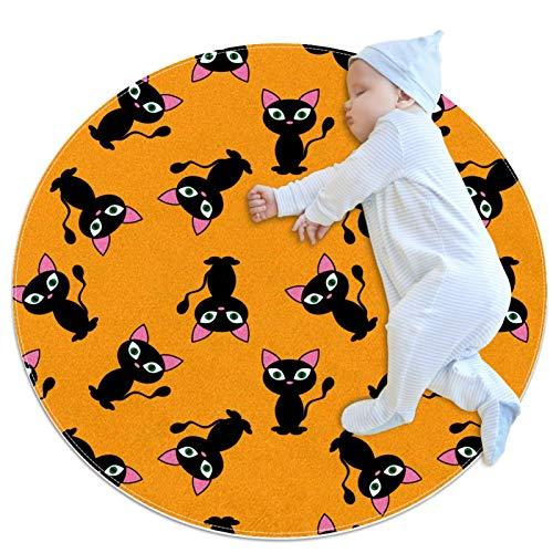 Alfombra de área de gato negro, redonda, suave, moderna, antideslizante, para decoración de habitación, 39.4 x 39.4 pulgadas