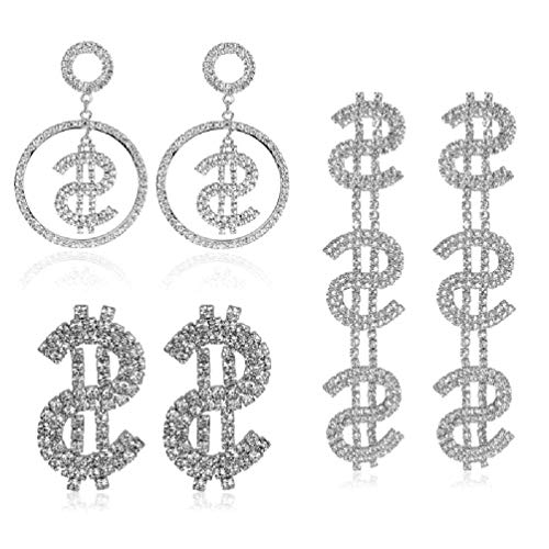 SHAOKAO Juego de 3 estilos de diamantes de cristal con purpurina y diseño de dólar de plata de ley
