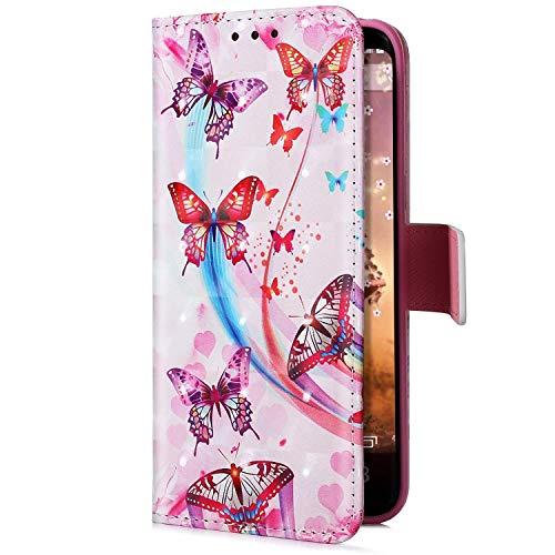 Uposao Kompatibel mit Samsung Galaxy J6 Plus 2018 Handyhülle Glitzer Bling 3D Bunt Leder Hülle Flip Schutzhülle Handytasche Brieftasche Wallet Bookstyle Case Magnet Kartenfach,Pink Schmetterling