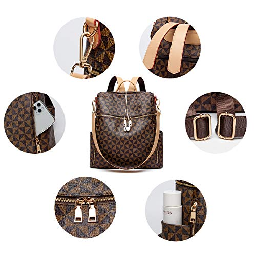 Backpacks for Women Fashion Leather Bags Girl's Anti-theft Rucksack Ladies Travel Bags Handbags and Purses Phone Bags 2Pcs