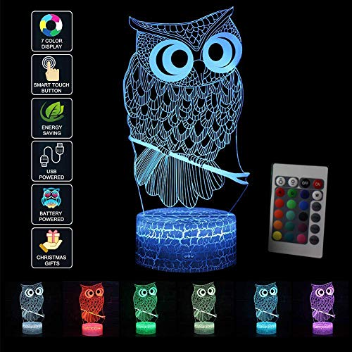 LED Nachtlicht 3D Kinder Eule Illusion Stimmungslicht Fernbedienung Nachttischlampe 7 Farben ändern Touch Switch Schreibtisch Lampen Geburtstagsgeschenk