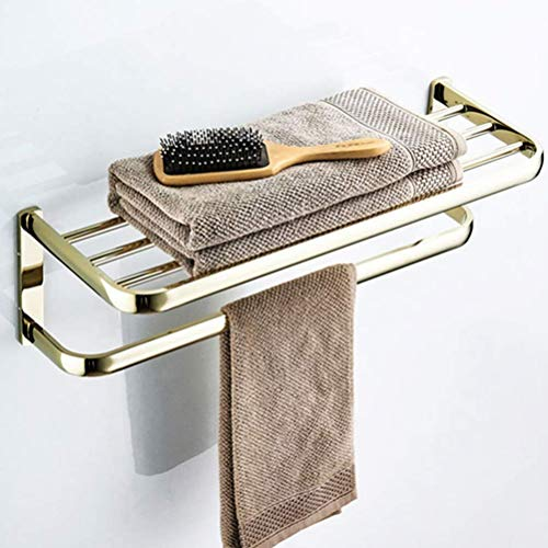 Bathroom Towel Rack, Towel Rack Brass Golden Bathroom Shelves with Towel Bars Wall Mounted Bathroom Storage Rack Towel Holder Creative Retro Style XYXG (Color : As Shown)