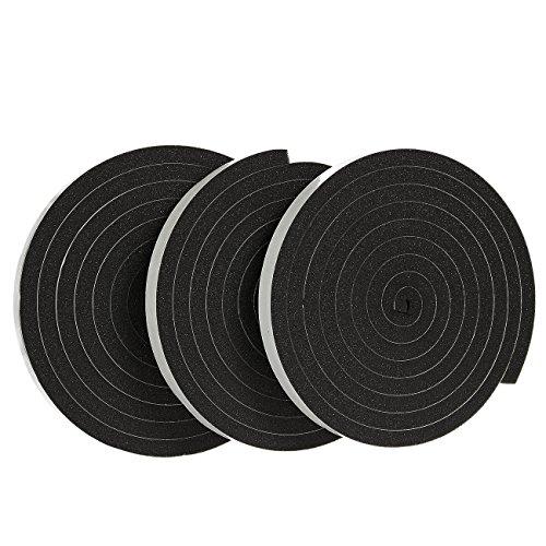 Juvale 3 Pack Weer Stripping Foam Tape - Multi-Surface Zwart Lijm Weerstrip Foam Tape voor Verbetering thuis, Weerstrip - 10 voet Lengte