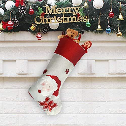 Synchain Calza di Natale, 47 cm Calze di Natale Decorazioni, Calza Natalizia per Le Caramelle, Babbo Natale Pupazzo di Neve Renne Carattere Decorazioni Natalizie (Babbo Natale)