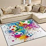 Use7 Fußball-Teppich, Wasserfarben, für Wohnzimmer, Schlafzimmer, Textil, mehrfarbig, 160cm x 122cm(5.3 x 4 feet)