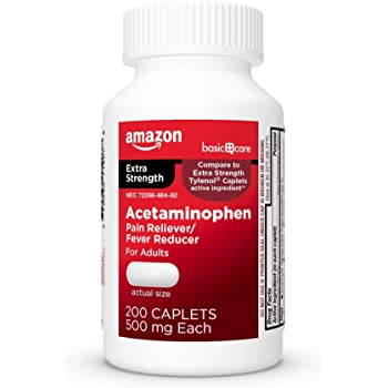 Amazon Basic Care Extra Strength Pain Relief, Acetaminophen Caplets, 500 mg, 200 Count
