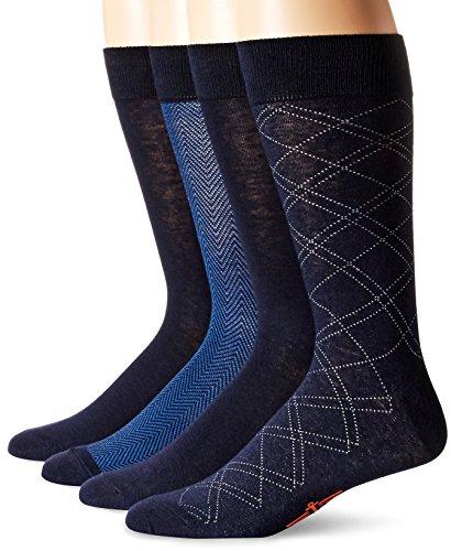 Dockers Men's Herringbone Dress Socks, Navy (4 Pairs), Shoe Size: 6-12