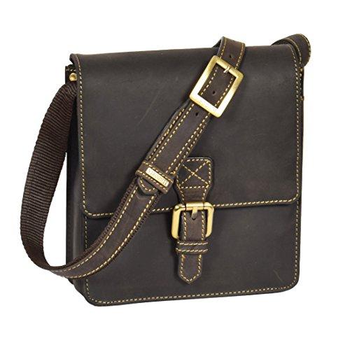 A1 FASHION GOODS Hommes Corps croisé Sac en cuir Brun Vintage Petit portefeuille mobile de voyage Sling Vol Sac à main - Billy