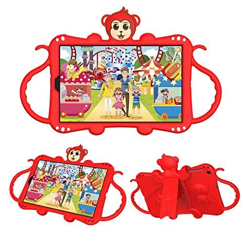 JCTek Custodia protettiva per bambini per Galaxy Tab A 10.1 pollici 2019 Release Tablet modello SM-T510 SM-T515, simpatico fumetto scimmia antiurto maniglia stand tracolla bambini caso (rosso)