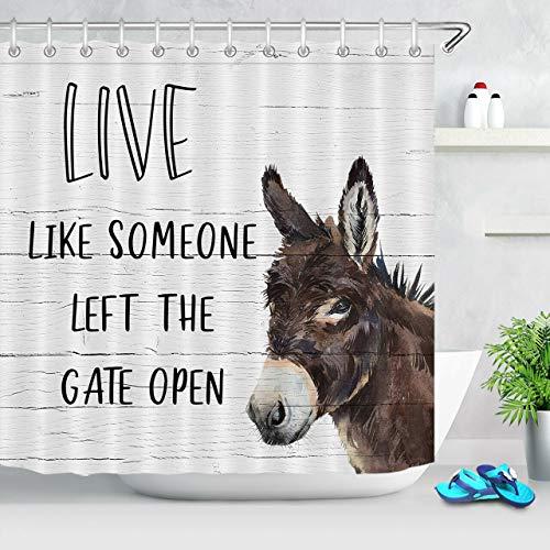 JHTRSJYTJ Esel Nutztier inspirierende Worte Duschvorhang ist geeignet für Badezimmer,Polyester wasserdicht,12Haken,180X200cm,Wohnkultur
