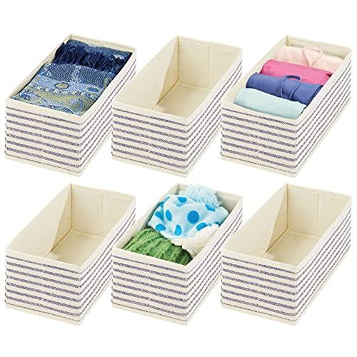 mDesign 6er-Set Aufbewahrungsbox – praktischer Schubladen Organizer für Wäsche, Accessoires und Schmuck – Faltbare Stoffbox aus atmungsaktiver Kunstfaser – naturfarben/blau