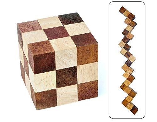 Logica Spiele Art. Schlangenwürfel – 3D-Denkspiel - Knobelspiel - Geduldspiel Aus Holz - Schwierigkeit Schwierig 3/6 - Leonardo da Vinci Kollektion
