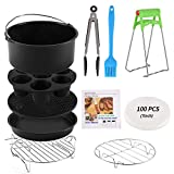 Round Air Fryer Accessories 11 pcs with Recipe Cookbook Deep Fryer Accessories Set Compatible for Philips Air...