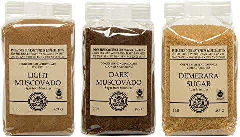Mauritius Brown Sugar Bundle Demerara Dark Muscovado and Light Muscovado 1 Pound Bags 3 items product image