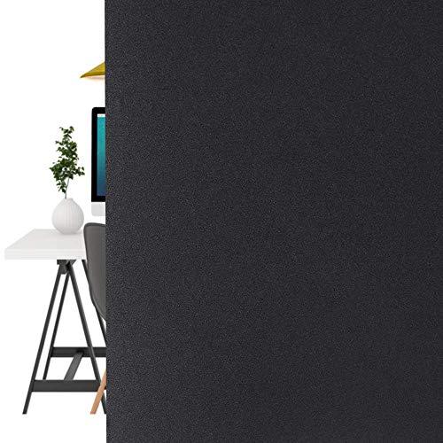LMKJ Película de Vidrio adherente estática PVC Negro Mate protección de privacidad sombreado Oficina en casa Pegatina de Vidrio Decorativo A27 60x200cm