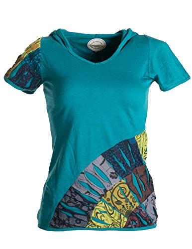 Vishes - Alternative Bekleidung - Patchwork-, Cutwork- Shirt - UNIKAT mit Zipfelkapuze türkis 36 (S)