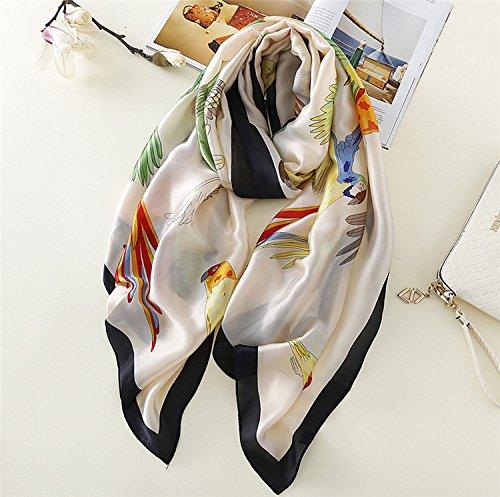 Bluelover Lady Silk Sciarpe Imitazione Raso Donne Pappagallo Stampato Spiaggia Asciugamano Solare Sciarpa - Bianco