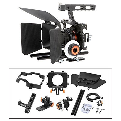 YaeCCC Video Stabilizer Kit 15mm Rod Rig Camera Cage+Follow Focus+Matte Box Compatible for Sony A7 (Orange) DSLR Video Camera Cage Mount Rig Cage Kit