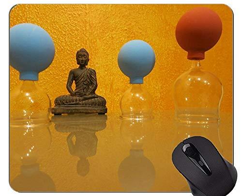 Mauspad Rutschfest, Schröpfen Buddha Gut und Böse Rutschfeste Gummibasis Mousepad