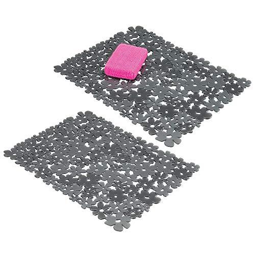 mDesign tapis évier pour découper (lot de 2) – grand tapis protège évier de cuisine – tapis pour cuisine pratique en PVC pour vaisselle et évier –...