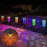 Solarleuchten Garten Solar Gartenleuchte 6 Stück IP55 Wasserdicht Gartenleuchte Dekoration, [Warmlicht + RGB] für Rasen Garten Hofwege Gehweg Balkon Landschaft JSOT (6 Stück)