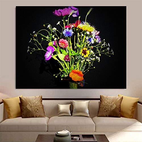 N / A Pintura sin Marco Lienzo Pintura al óleo Planta Flor Flor de Aciano Cartel Pintura al óleo Fresca Sala de Estar Dormitorio decoración Pintura ZGQ6070 50X67cm