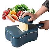 Vegetable Chopper Fruit Cutter, 6 in 1 Slicer with Bowl Professional Mandoline Slicer as Potato Ricer, Multifunctional Cutter Set of Ukulele Shape for Onion, Tomato, Fruit (Blu Scuro)