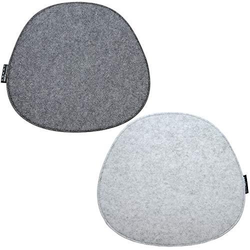 DuneDesign 2 Cojines de Fieltro para Sillas 40x37x0,8 cm Ovalado 2-Colores Gris
