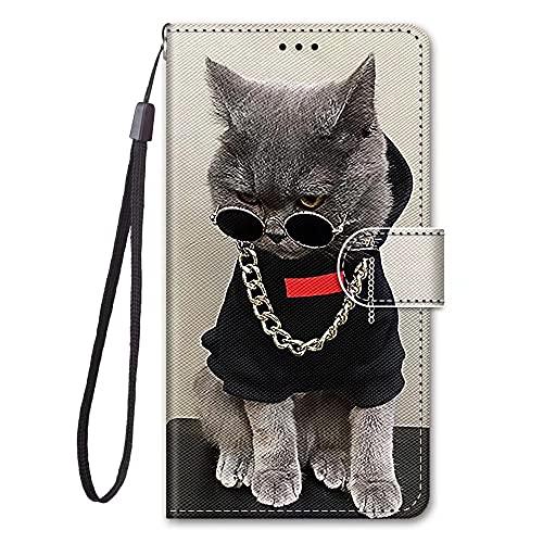 KRjcsfhy Funda para iPhone 13, 3D, a prueba de golpes, piel sintética, con soporte magnético, funda de cartera, funda protectora para iPhone 13, gato fresco con gafas