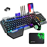 Wireless Gaming Keyboard and Mouse with Rainbow LED 16RGB Backlit Rechargeable 4800mAh Battery Metal Panel Mechanical Ergonomic Feel Waterproof Dustproof 7 Color Mute Mice for Laptop PC Gamer(Black)
