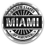 Impresionantes pegatinas de vinilo (juego de 2) 25 cm bw – Bandera estadounidense de Miami Florida, calcomanías divertidas para portátiles, tabletas, equipaje, reserva de chatarras, neveras, regalo genial #40535