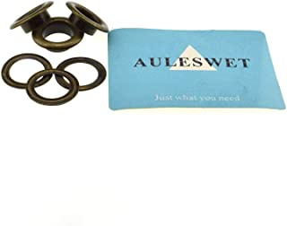 Auleswet Eyelets and Grommets 1/2 Inch 100 Pack Metal Secure Strong in Wind Bronze Plated Shaft Length 6 mm No Bend No Burr for Making Holes in Coat Belt Shoe Fabric Paper Purse Cloth Canvas Crafting