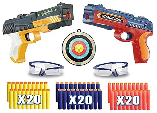 Riviax - Pistolas de Juguete para Niños con Dardos de Espuma, 2 Blaster Espacial + 60 Balas/Flechas + 2 Gafas Protección y 1 Objetivo de Disparo o Tiro, Regalo Cumpleaños y Fiestas Niño/a de 3-12 Años
