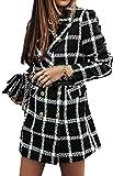 NDCATHE Camisa a cuadros de solapa para mujer, ajuste holgado, abrigo de guisante hasta mediados abrigos con bolsillos